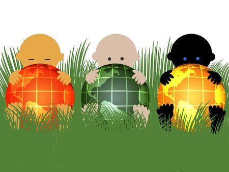 Bebés multirraciales con globos