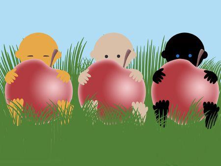 Bebés multirraciales con manzanas