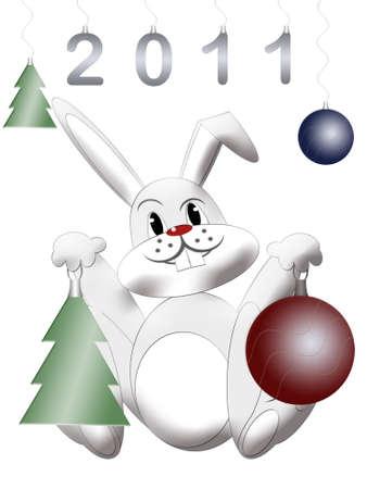 lapin blanc: Lapin blanc symbole chinoise est nouvelle ann�e 2011