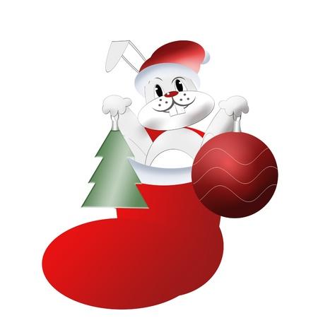 White rabbit in cap and boot santa claus photo