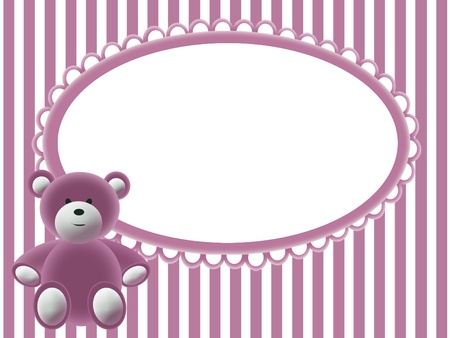 Babies girls background with frame and bear photo