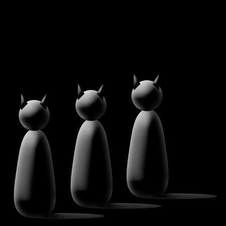 Three black cartoon cats Stock Photo - 8411020