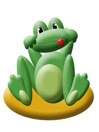 Green cartoon frog photo