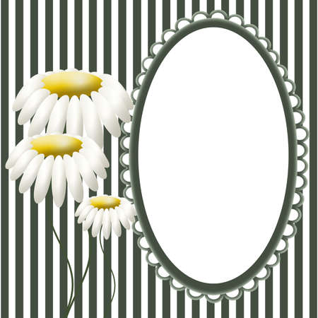 Frame with camomiles on striped background photo
