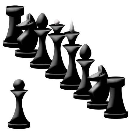 chessmen: Compodition of black chessmen