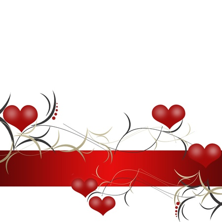 Pattern of red hearts and ribbon photo