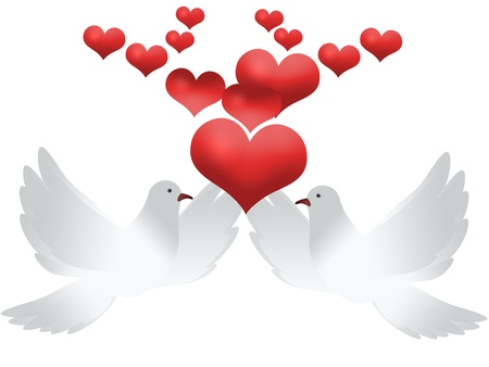 Wedding background with doves