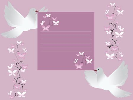 Wedding card invitation with white doves photo
