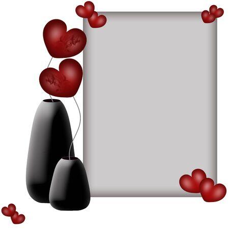 Valentines telaio e fiori cuori in vasi