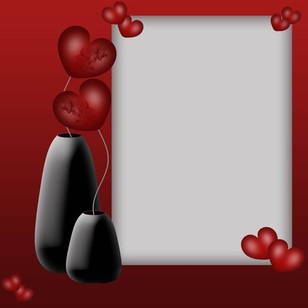 Valentines frame and flowers hearts in vases photo