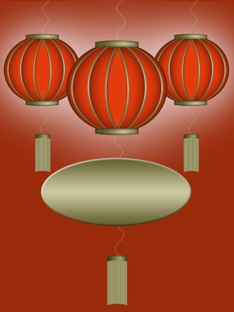 Three red chinese laterns with empty golden label Stock Photo - 9302962
