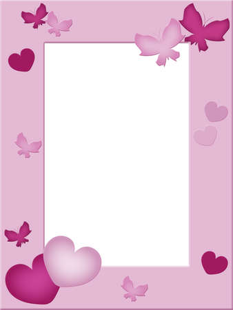 Pink photo frame with hearts and butterflies photo
