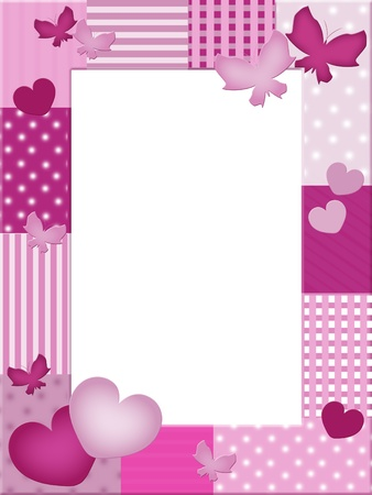 pink butterfly: Pink photo frame with hearts and butterflies