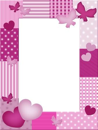 Rosa Foto-Rahmen mit Herzen und Schmetterlinge Standard-Bild - 9302983