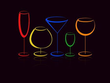 Color glasses of alcohol drinks