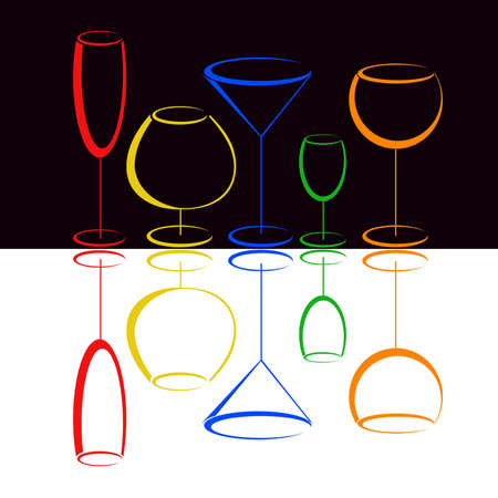 Color glasses of alcohol drinks photo