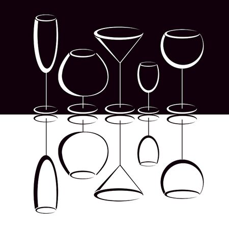 Black and white  glasses of alcohol drinks Stock Photo - 9302979