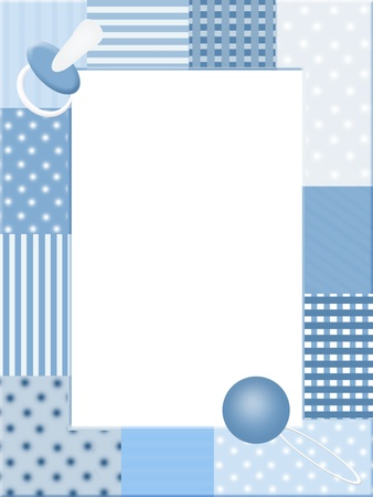 announcement icon: Blue  photo frame with baby icons Stock Photo