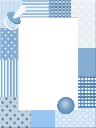 sonajero: Marco de fotos azul con iconos de beb� Foto de archivo