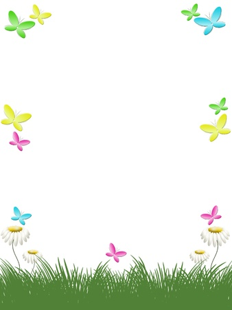 floral border frame: background with grass, flowers camomiles and butterflies Stock Photo