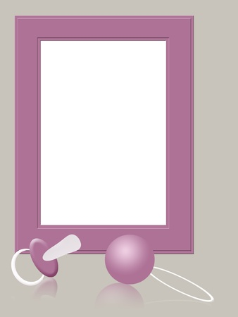 Pink photo frame with baby girl icons photo