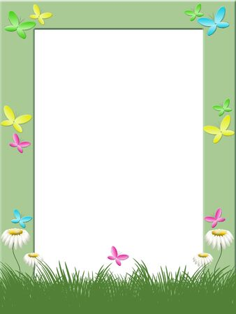 Phoro frame with color butterflies, grass and camomiles photo