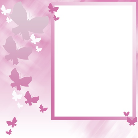 Pink frame on background of butterflies photo