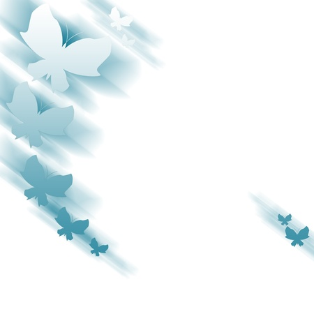 Background with abstract blue butterflies
