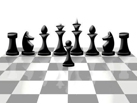 Composition of chessmen on chessboard photo