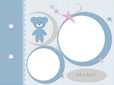 photo album page: Template for babies blue photo album