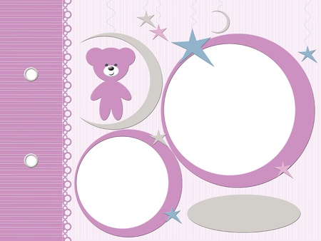 Template for baby pink photo album  photo