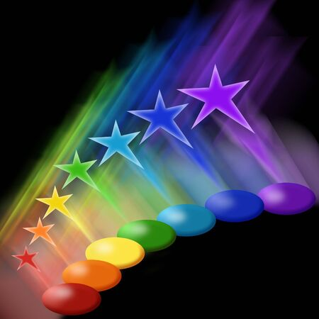 Colorful paints and stars photo