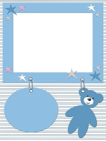 ferraille: Cadre photo b�b� gar�on avec ours en peluche Banque d'images