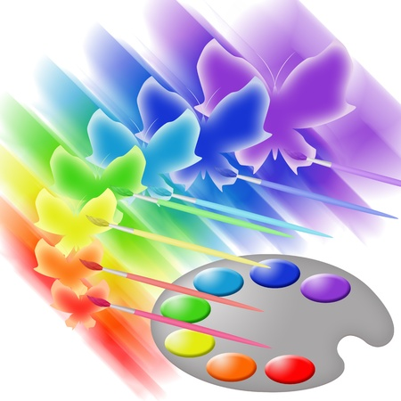Art palette with paints, paintbrushes and butterflies Stock Photo - 11723408