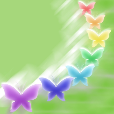 Green background with colorful butterflies Stock Photo - 11723425