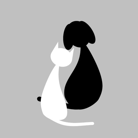 back of head: Cat and dog