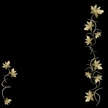 flowers black background: Black background with golden floral pattern  Stock Photo