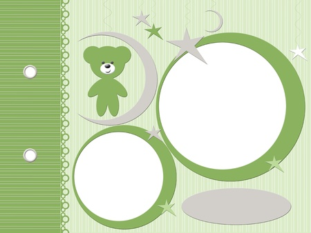 Template for babies green photo album  Stock Photo - 12138556