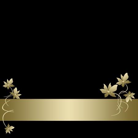 Einladungskarte mit goldenem Blumenmuster Standard-Bild - 12138550