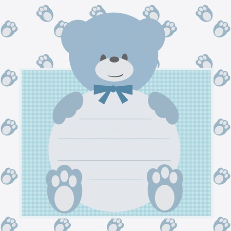 baby delivery: Invitation card with teddy bear