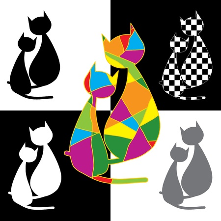 black cat silhouette: Collection of cats