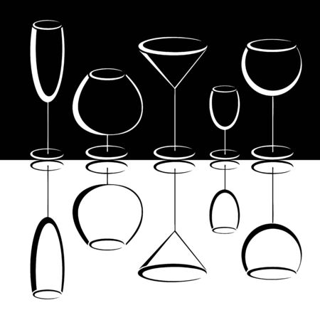Black and white set of wineglases  photo