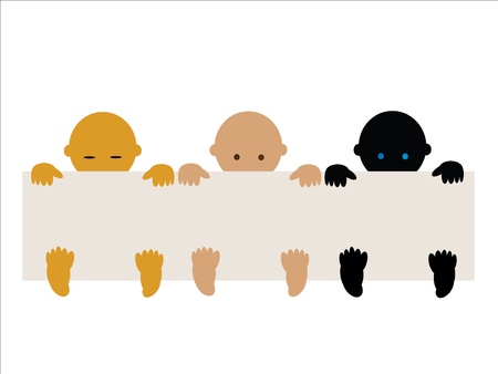 Three babies of different races with empty banner vector Vector