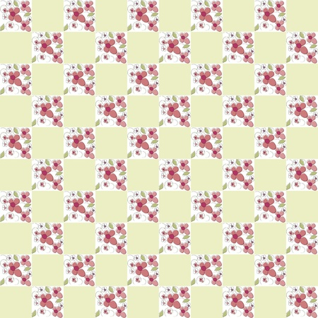 Flowers checkered background vector Vector