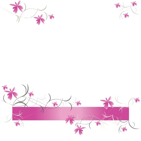 pink ribbons: Floral pattern of pink flowers vector