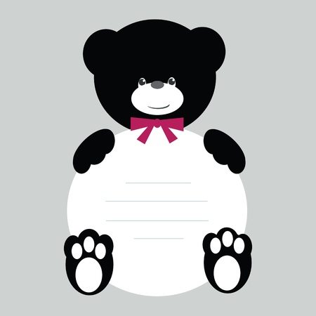 Black and white teddy bear with banner Vector