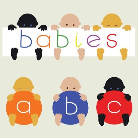 ni�os de diferentes razas: Beb�s multirracial con vector de banderas