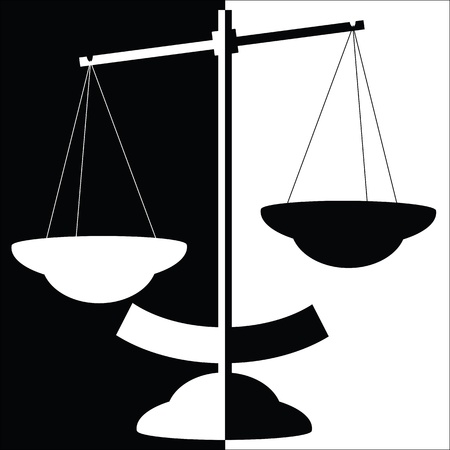 scale of justice: Black and white balance scale vector