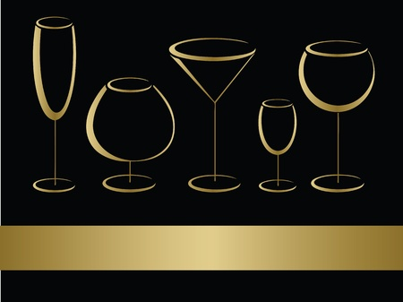 food and wine: Golden wineglasses vector