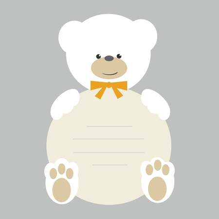baby delivery: White teddy bear with banner vector Illustration